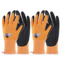 COOLJOB Safety Work Gloves for Men and Women, Gardening Gloves with Grip Suitable for Repair Handling, Silicone Free Home Work Gloves, High Visible Orange Small Size(2 pairs S)