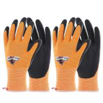 COOLJOB Safety Work Gloves for Men, Gardening Gloves with Grip Suitable for Repair Handling, Silicone Free Home Work Gloves, High Visible Orange Large Size(2 pairs L)