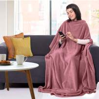 """CANDY CANE Wearable Fleece Blanket with Three Holes - Super Soft, Lightweight, Cozy and Comfortable Throw Blanket for Adult, Women and Men One Size Fits All 70""""x50"""" Microfiber Blankets (Sunset Pink)"""
