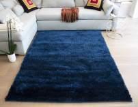 LA Super Soft Plush Polyester Made Indoor Area Rug Carpet for Living Room Bedroom Decor Dining Room Floor Non Slip Shag Shaggy Hand Woven Solid Rectangle Rug 5x7 Feet Navy Blue Dark Blue Color