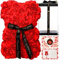 MHM Premium Eternal Roses Rose Bear 100% Handmade 10 Inches, Rose Teddy Bear, Romantic Gift Box Flower Bear Perfect for Birthday's Valentines Premium Eternal Rose (Red, 10 Inch)