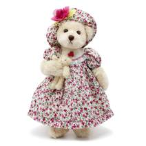 """Oitscute Teddy Bears Baby Cute Soft Plush Stuffed Animal Toy for Girl Women 16"""" (White Bear Wearing red Floral Dress)"""