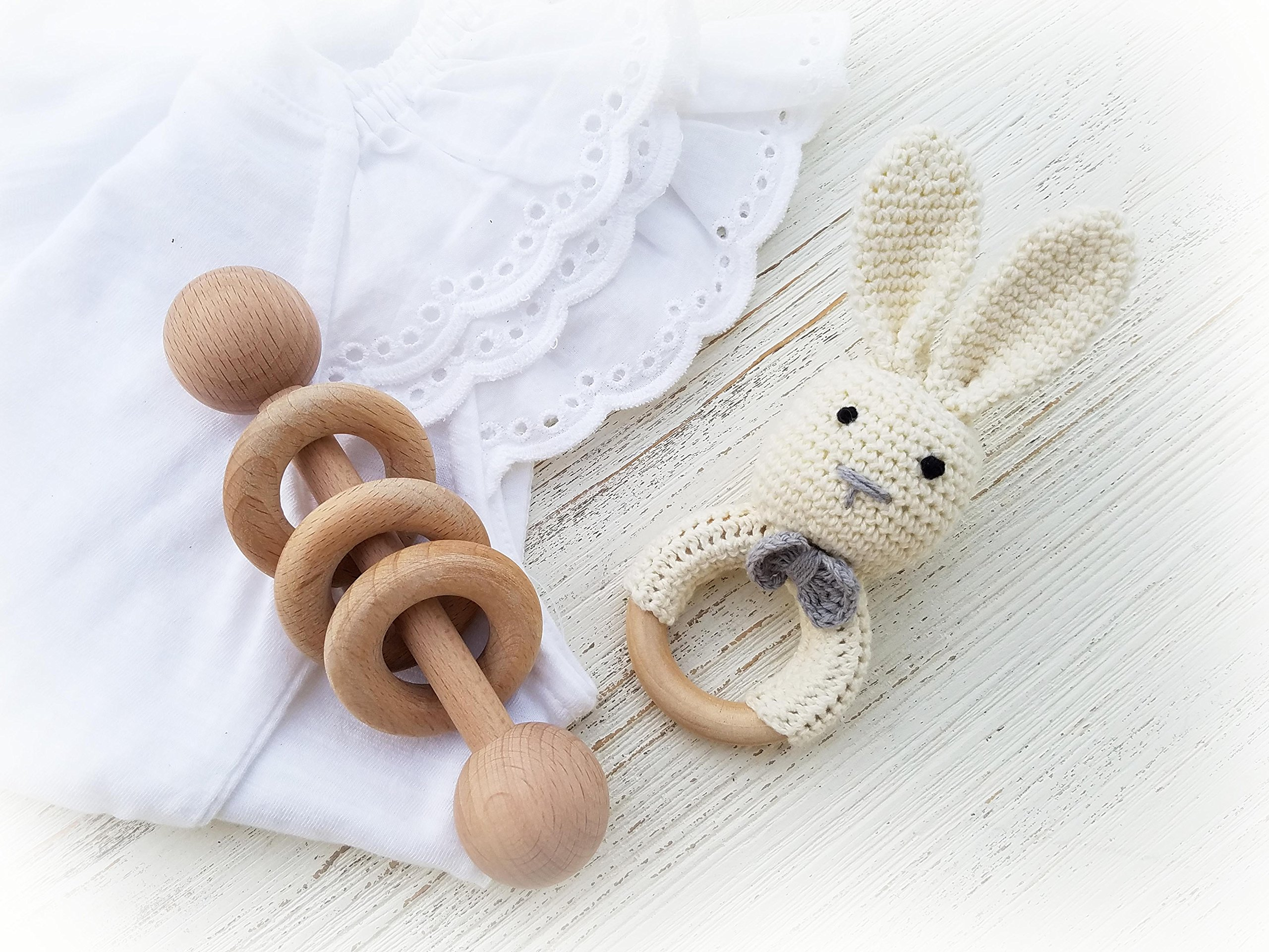 Natural Wooden Baby Toys Baby's First Christmas Toy Cotton Crochet Bunny Teething Ring Teether and Rattle Montessori Inspired Newborn Unisex Baby Shower Gift… (White)