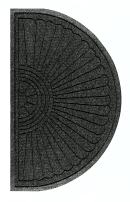"M+A Matting 2246 Waterhog Eco Grand Premier PET Polyester Fiber Half Oval Entrance Indoor/Outdoor Floor Mat, SBR Rubber Backing, 3.3' Length x 6' Width, 3/8"" Thick, Black Smoke"