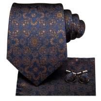 Hi-Tie Silk Paisely Necktie and Pocket Square Cufflinks Set