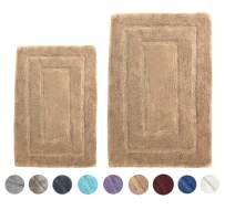 """Woven St Tufted Luxury Cotton 2 Piece Bath Rugs Set Super Soft for Spa Vanity Shower Machine Washable for Bathroom/Kitchen Water Absorbent Anti-Skid Bedroom Area Rugs (17"""" x 24"""" + 21"""" x 34"""")- Brown"""