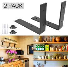 """OVOV 2 Pack Iron Steel Shelf Bracket Heavy Duty Thicken L Floating Countertop Support Bracket for Wall Hanging Decorative with Free Hook Hanger (Black) 10"""""""