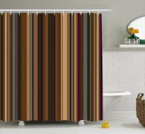 "Ambesonne Abstract Shower Curtain, Retro Vertical Striped Background in Different Shades of Earthen Tones Image, Cloth Fabric Bathroom Decor Set with Hooks, 70"" Long, Tan Brown"