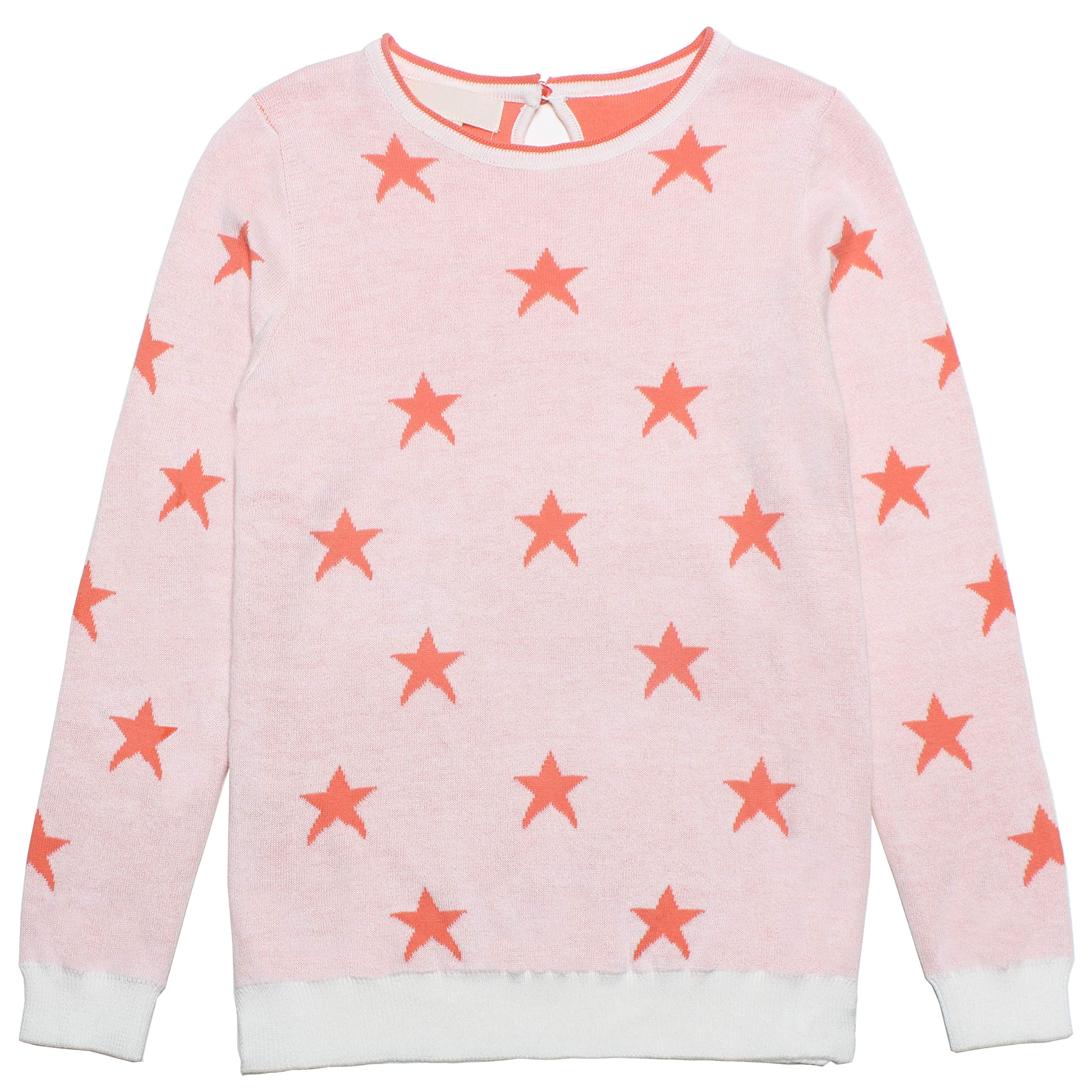 Mini Phoebee Little Girls' Long Sleeve Crew Neck Cotton Knit Pullover Sweater with Cute Jacquard Star Pattern