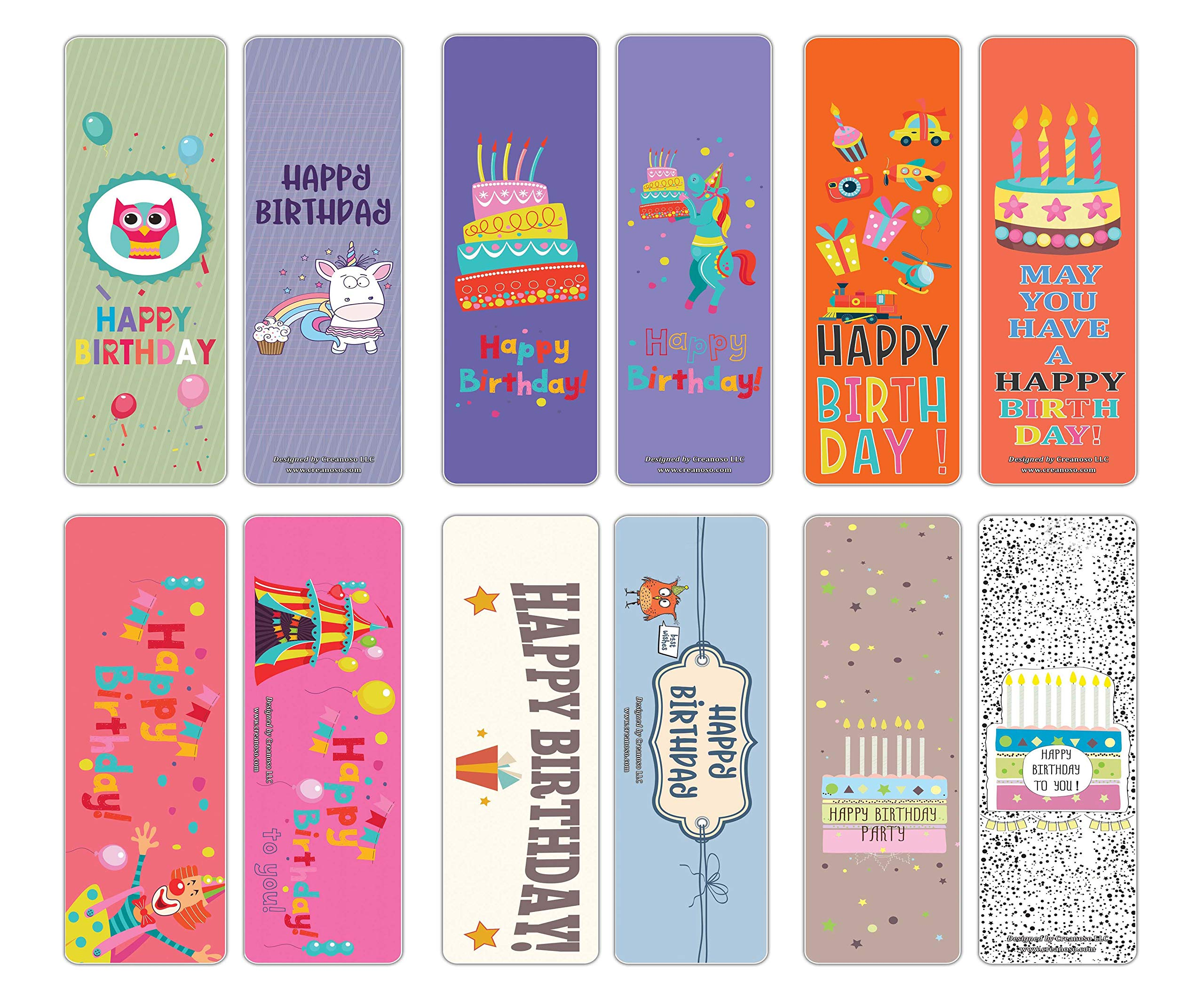 Creanoso Happy Birthday Bookmark Cards (12-Pack) – Premium Quality Set – Book Reading Gift Card Set Tokens for Boys, Girls, Teens, Kids, Men, Women – Six Assorted Bookmarks Bulk