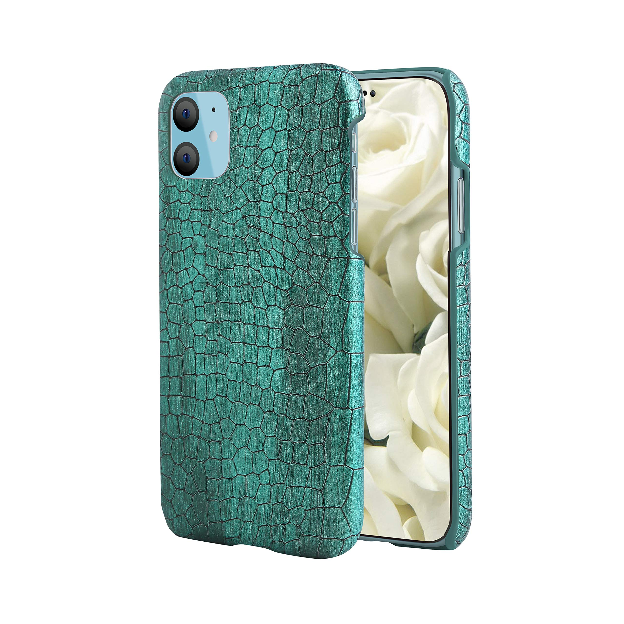 iPhone 11 Pro Max Case, Premium Genuine Leather Case, Stylish Crocodile Pattern Anti-Slip Hard Shell Phone Protective Cover Compatible with iPhone 11 6.2 inch [2019] [Crocodile Green]