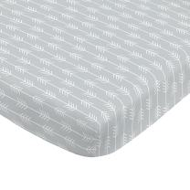 NoJo Aztec Mix & Match 100% Cotton Arrows Fitted Crib Sheet, Grey, White