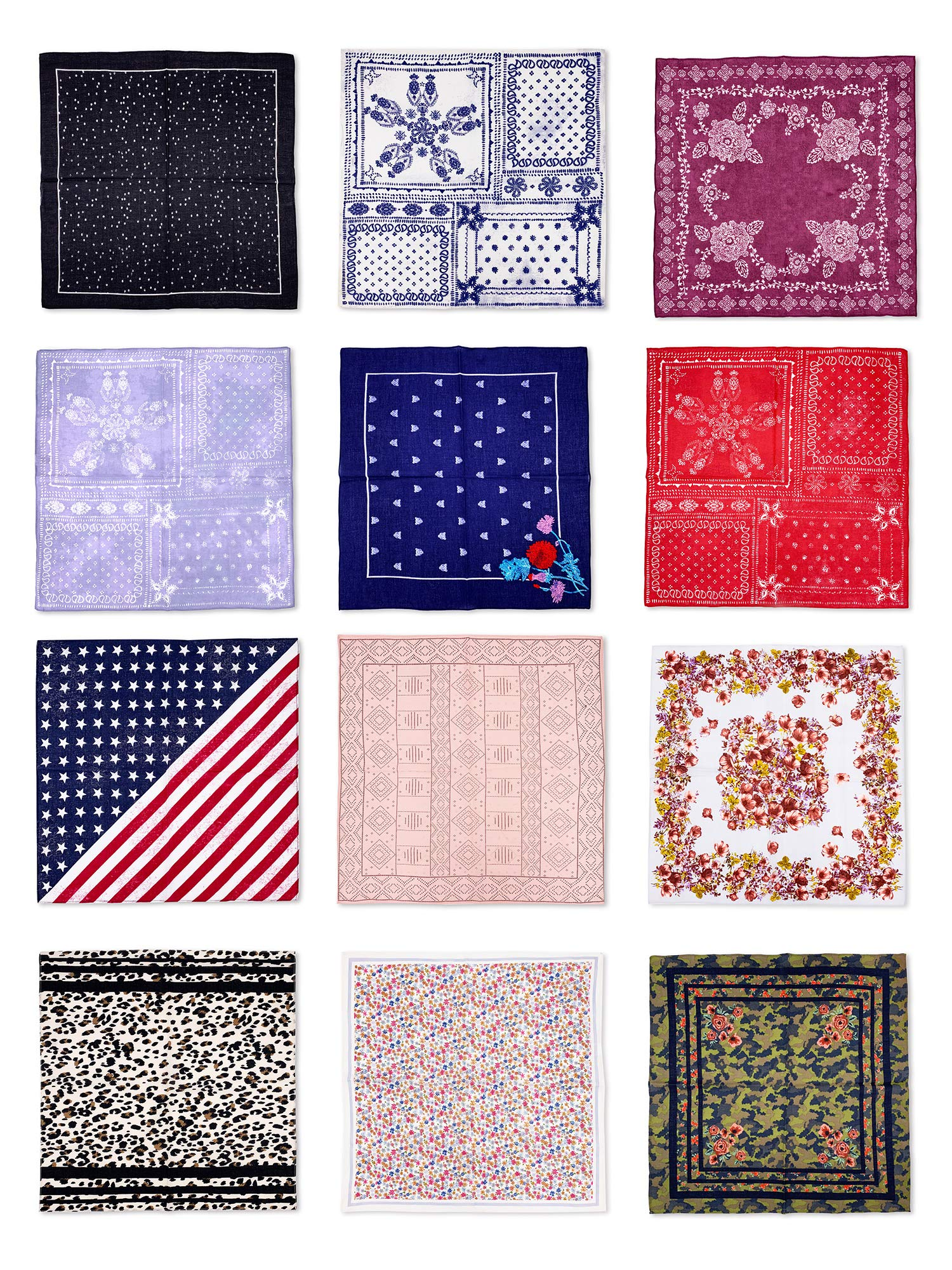 Moss Rose 4 Multi Face Mask Bandanas Set For Dust, Outdoors, Festivals, Sports
