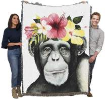 Pure Country Weavers Cute Ape Throw Blanket Monkey with Flower Crown Woven from Cotton Made in USA 72x54