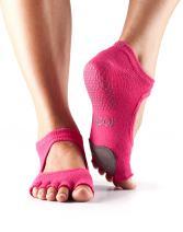 ToeSox Women's Plie Half Toe Grip for Yoga, Pilates, Barre, Dance, Toe Socks With LEATHER PAD