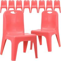 Flash Furniture 10 Pk. Red Plastic Stackable School Chair with Carrying Handle and 11'' Seat Height