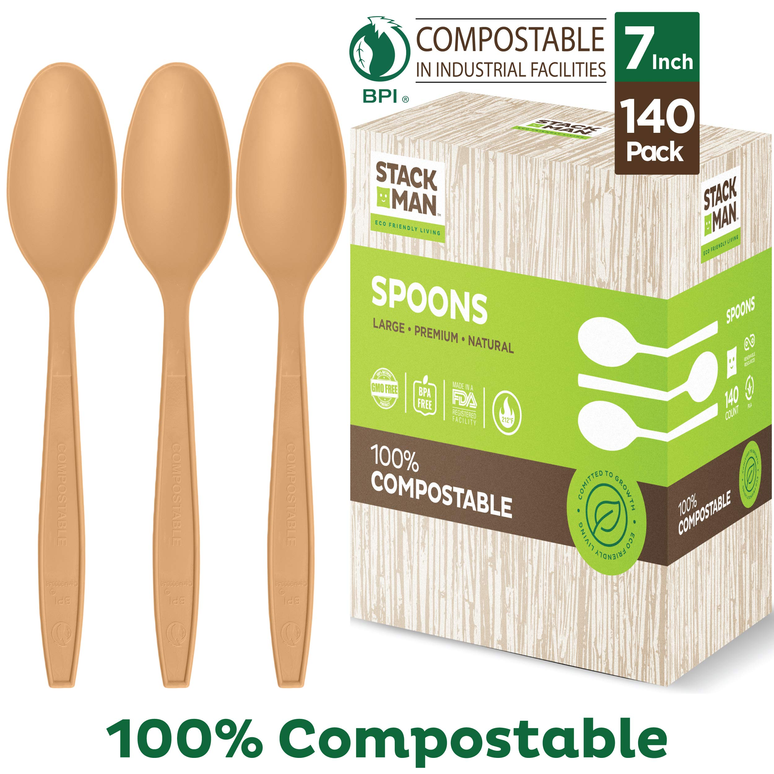 Stack Man Disposable Spoons [140 Pack] 100% Compostable Plastic Silverware, Large Premium Heavy-Duty Flatware Utensils Eco Friendly BPi Certified, 6.5 Inch, Organic Natural Wood Color Tableware