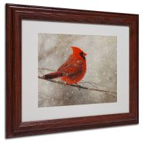Cardinal in Winter by Lois Bryan Canvas Artwork in Wood Frame, 11 by 14-Inch