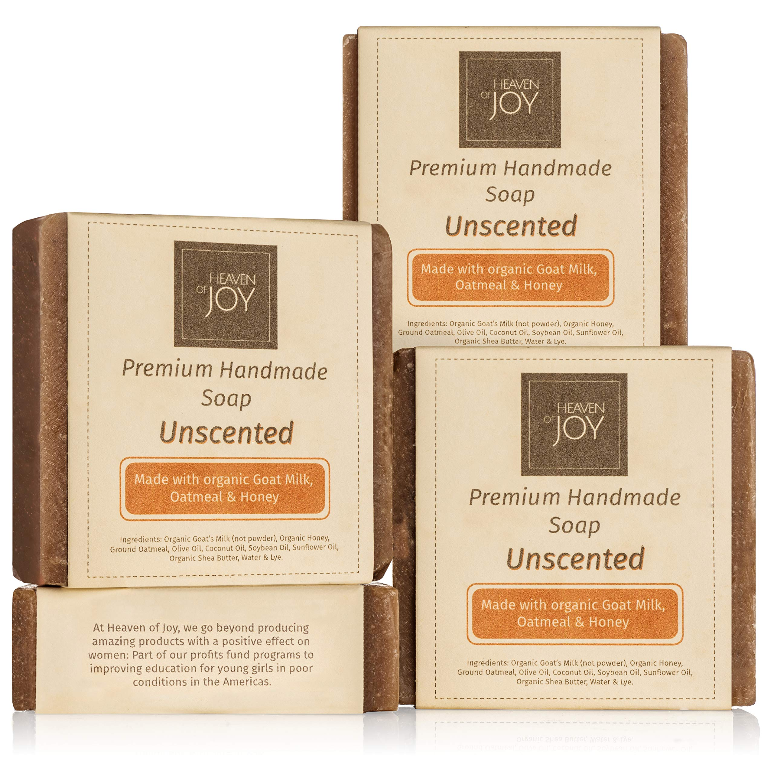 Heaven of Joy Premium Fresh Goat Milk Soap with Organic Honey and Oatmeal - Natural Soap Made with Organic Ingredients - Leaves the skin feeling renewed and rejuvenated - 4 Pack (5oz./Bar)