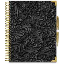 Tools4Wisdom Hardcover Daily Planner 2021-2022 - April 2021 to June 2022 Academic Calendar - 8.5 x 11 Hardcover w/Pen - Full Color Weekly Planner Pages - Q2Pro - Black Floral Cover