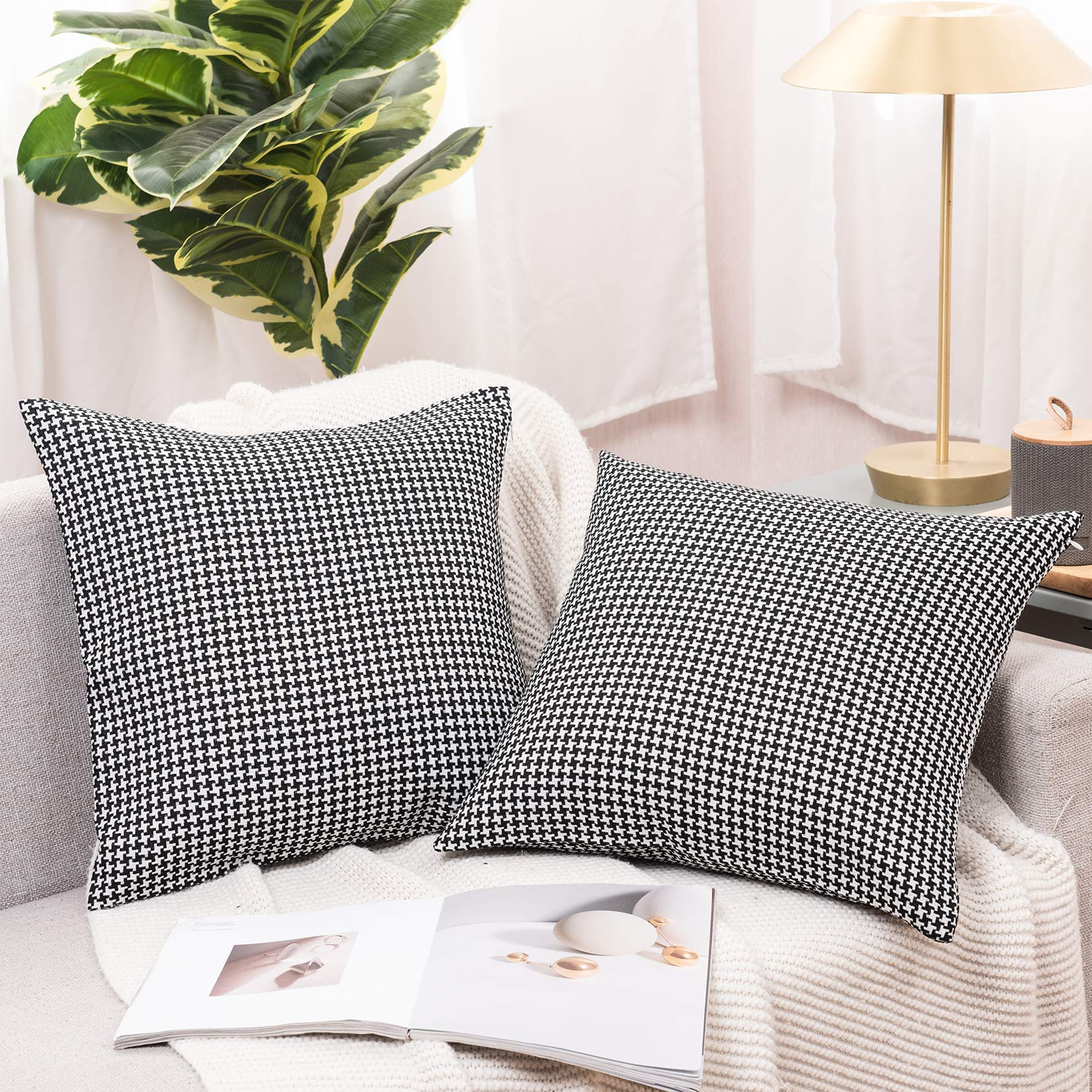 Basic Model Set of 2 Houndstooth Throw Pillow Covers Decorative Square Pillow Case Jacquard Cushion Cover for Sofa Living Room, 18 x 18 Inches