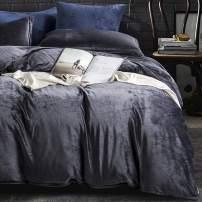 NTBAY Velvet Flannel Duvet Cover Set, 3 Pieces Zippered Comforter Cover Set, Queen, Charcoal Grey