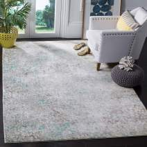 "Safavieh Mystique Collection MYS977L Vintage Watercolor Grey and Light Blue Square Distressed Area Rug (6'7"" Square)"