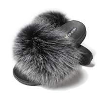Fur Story Fur Slides Slippers Furry Fuzzy Slides Open Toe Fluffy Slides Fox Fur Feather Sandals Fur Slip On Shoes for Women
