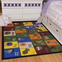 "Ottomanson Jenny Collection Kids' Non-slip Educational Animal Alphabet Design Area Rug , 5'0"" X 6'6"", Multicolor"
