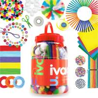 IVAAU Art and Craft Supplies Kit for Kids - Safety Approved - DIY Arts and Crafts Guides - Set for 4-12 Year Old Girls and Boys for Crafting Home and School Projects