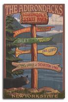 Lantern Press The Adirondacks, New York State - Destinations Sign (10x15 Wood Wall Sign, Wall Decor Ready to Hang)