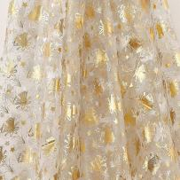 Deconovo DIY Table Pads Voile Fabric Organza Glittering Sheer Tablecloth for Christmas Tree Festival Wedding Decorations Party Supplies, 59W x 118L Inch, Gold Bell