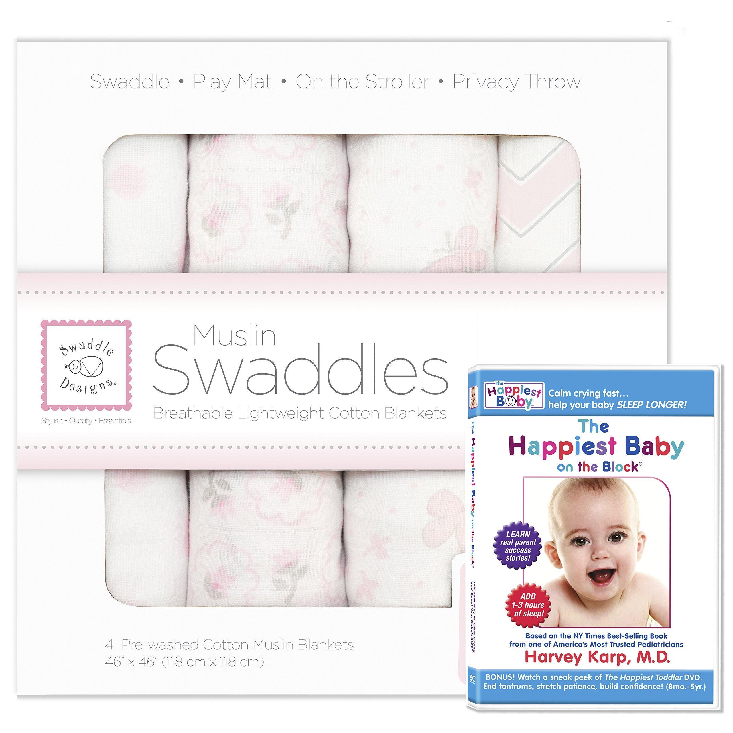 SwaddleDesigns Cotton Muslin Swaddle Blankets, Set of 4 + The Happiest Baby DVD Bundle, Pastel Pink Butterfly Fun