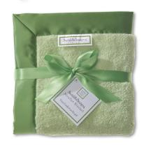 SwaddleDesigns Stroller Blanket, Cozy Microfleece, Pure Green with Satin Trim