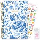 """bloom daily planners 2020-2021 Academic Year Day Planner & Calendar (July 2020 - July 2021) - 6"""" x 8.25"""" - Weekly/Monthly Agenda Organizer with Stickers and Bookmark - Blue & White Floral"""