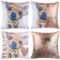 """EVERMARKET Mermaid Throw Pillow Cover,Magic Reversible Sequin Pillow Case, Cute Pet Pattern Throw Cushion Pillow Case Decorative Pillow That Change Color 16""""X16""""inch,Chihuahua Dogs"""