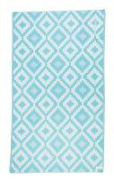 Bersuse 100% Organic Cotton Barbados Turkish Towel with Hidden Zipper Pocket - 37X70 Inches, Aqua/Natural, 1 Piece