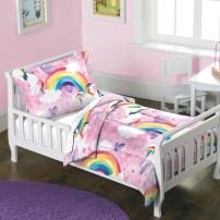 dream FACTORY Unicorn Rainbow Comforter Set, Toddler, Pink