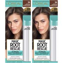 L'Oreal Paris Magic Root Rescue 10 Minute Root Hair Coloring Kit, Permanent Hair Color with Quick Precision Applicator, 100% Gray Coverage, 5A Medium Ash Brown, 2 count