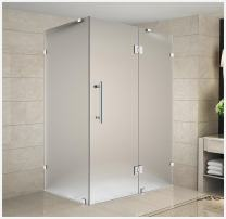"""Aston Avalux Completely Frameless Shower Enclosure in Frosted Glass, 48"""" x 38"""" x 72"""", Polished Chrome"""