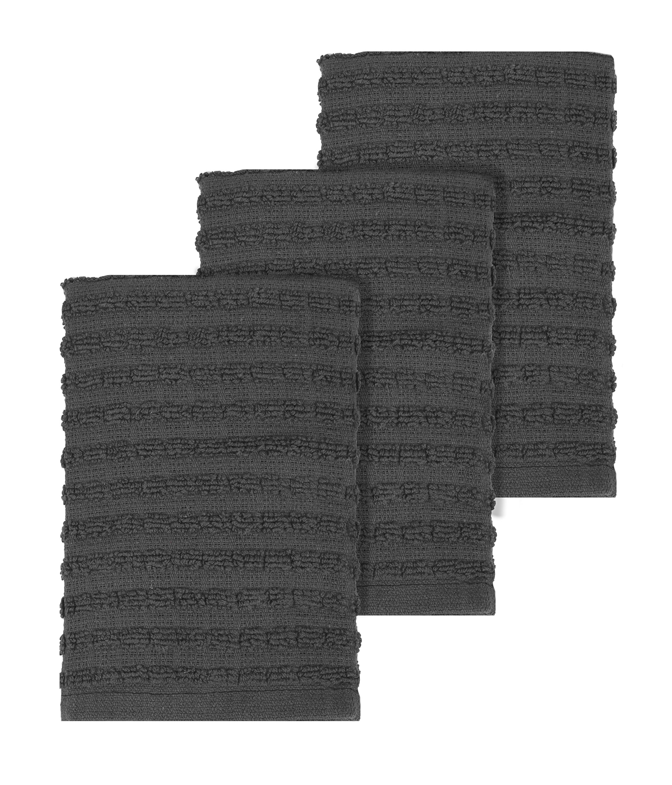 """Ritz Royale Collection 100% Combed Terry Cotton, Highly Absorbent, Kitchen Dish Cloth Set, 13-3/4"""" x 12"""", 3-Pack, Solid Graphite"""