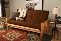 Kodiak Futons Lodge Futon in Natural Finish, Suede Chocolate