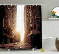 """Ambesonne Cityscape Shower Curtain, New York Street with High Skyscrapers at Early Morning Sunrise Manhattan View, Cloth Fabric Bathroom Decor Set with Hooks, 70"""" Long, Umber Cream"""
