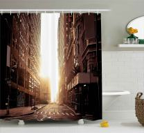 "Ambesonne Cityscape Shower Curtain, New York Street with High Skyscrapers at Early Morning Sunrise Manhattan View, Cloth Fabric Bathroom Decor Set with Hooks, 70"" Long, Umber Cream"