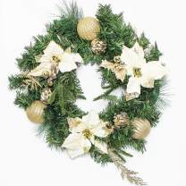 Costyleen 20 Inch Christmas Artificial Pine Wreath with Remote Controlled Warm LED Lights Decorative Christmaswreaths with Gold Ball Ornaments Beige Flowers