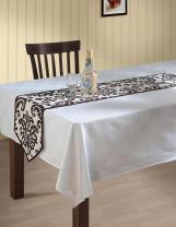 ShalinIndia Indian Patterned Duck Cotton Table Runner (White and Chocolate Brown Damask, 3 x 36inch)