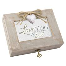 Cottage Garden Love with All My Heart Soul Natural Taupe Jewelry Music Box Plays You Light Up My Life