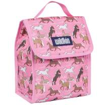 Wildkin Kids Insulated Lunch Bag for Boys and Girls, Lunch Bags is Ideal Size for Packing Hot or Cold Snacks for School and Travel, Mom's Choice Award Winner, BPA-Free, Olive Kids (Horses in Pink)