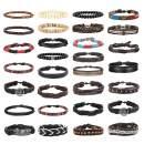 Jstyle 30Pcs Braided Leather Bracelet for Men Women Wooden Beaded Cuff Wrap Bracelet Ethnic Tribal Bracelets Adjustable