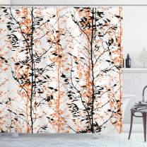 """Ambesonne Modern Shower Curtain, Forest Illustration with Trees Silhouettes Branches Hand Drawn Print, Cloth Fabric Bathroom Decor Set with Hooks, 75"""" Long, Orange Black"""
